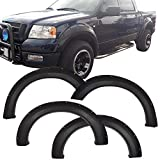 Fender Flares Compatible With 2004-2008 Ford F150 | Pocket Rivet Style Black PP Textured Front Rear Right Left Wheel Cover Protector Vent Trim by IKON MOTORSPORTS | 2005 2006 2007