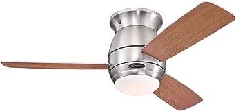 Westinghouse Lighting Halley Ventilador de Techo, Acabdo en níquel cepillado con aspas reversibles en arce/cerezo oscuro: Amazon.es: Iluminación