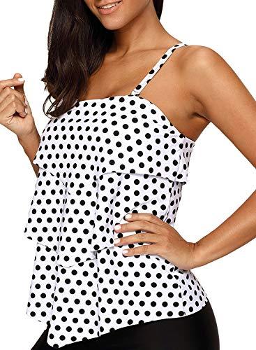 (Astylish Summer Women's Retro Black White Polka Dot Ruffle Halter Padded Tankini Top Swimsuit Swimwear Plus Size XXL 18 20)