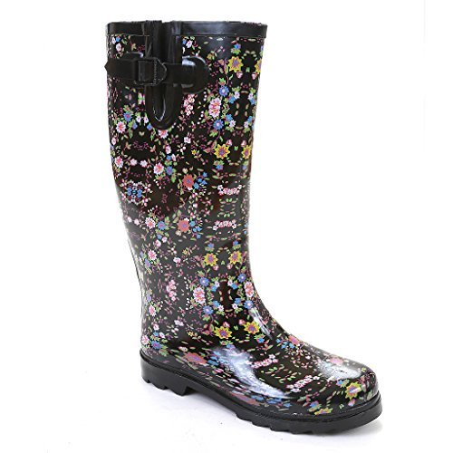 Twisted Women's Drizzy Rubber Floral Print Rain Boot- DRIZZY04 Multi/Ditsy, Size 11