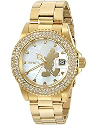 Invicta Womens Disney Limited Edition Quartz Stainless Steel Casual Watch, Color:Gold-Toned (Model: 22728)