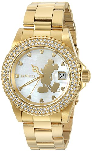 Invicta Women's 'Disney Limited Edition' Quartz Stainless Steel Casual Watch, Color:Gold-Toned (Model: 22728)