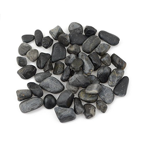 Decorative Ornamental River Pebbles Rocks for Fresh Water Fish Animal Plant Aquariums, Landscaping, Home Decor etc, Black Color, 10lbs, 1.0