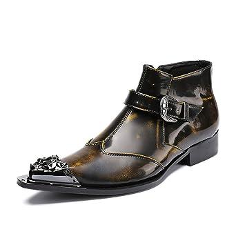 CAALSA Botines de Piel para Hombre con Cremallera Lateral y Botas de Vaquero con Cristal (Color : Negro, Tamaño : 45): Amazon.es: Hogar