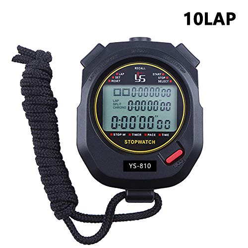 FCXJTU 10 Lap Digital Stopwatch Timer, 10 Split Memory Time & Calendar Alarm, Pace Mode with 3-Row Extra Large Screen Water Resistant Includes Battery, Lanyard for P.E Coach and Sport Event (10Lap) ()
