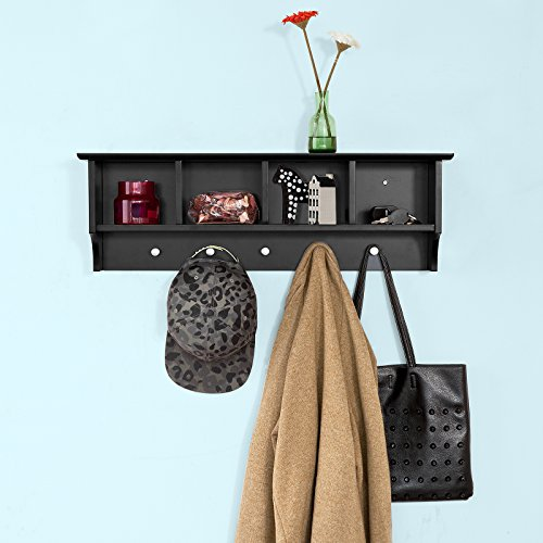 Haotian Wall Shelves,Wall rack,Wall Cabinets ,Wall-Mounted Cabinets ,Storage Racks, Hanging Entryway Shelf,Storage Shelf ,and Coat Rack Wall Shelf with Hooks (FRG48-L-SCH)