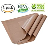 """3-Pack Teflon Mat Oven Liner Sheets 16"""" x 20"""" for Heat Press Transfers for Arts, Craft Sheet, Baking Non Stick BPA and PFOA Free Protects Iron and Work Area from Messy Glue, Inks or Paint"""