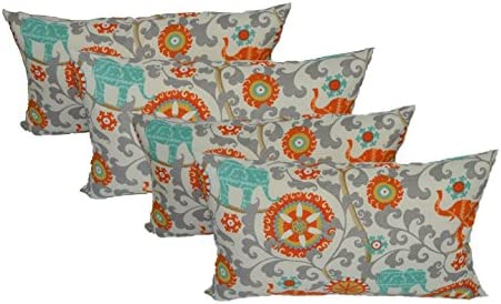 Resort Spa Home Decor Set of 4 Indoor Outdoor Decorative Lumbar Rectangle Pillows – Orange, Turquoise, Gray Bohemian Elephant Menagerie Cayenne