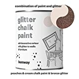 Hemway Peaches n Cream Chalk Paint (with Bronze Glitter) Sparkle Matt finish Wall and Furniture Paint 1L/35oz Shabby Chic Vintage Chalky Crystal (25 Glittery Colours Available)