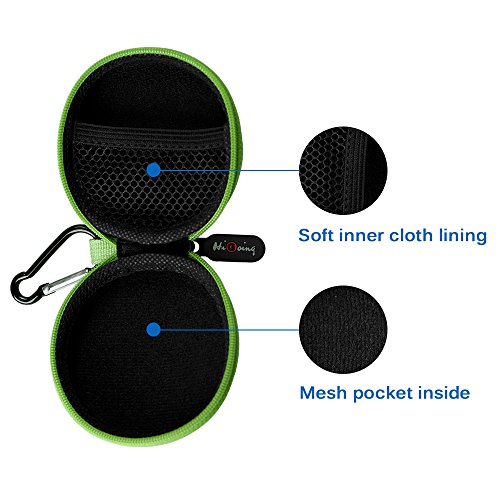 Large Product Image of Portable Earpieces Earbuds Protection EVA Sweatproof Travel Carrying Cases with Carabiner_Green