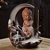 Backflow Incense Burner 3 Colors Ceramic Buddha Incense Stick Holder Little Monk Buddhist Censer + 10Pcs Incense Cones