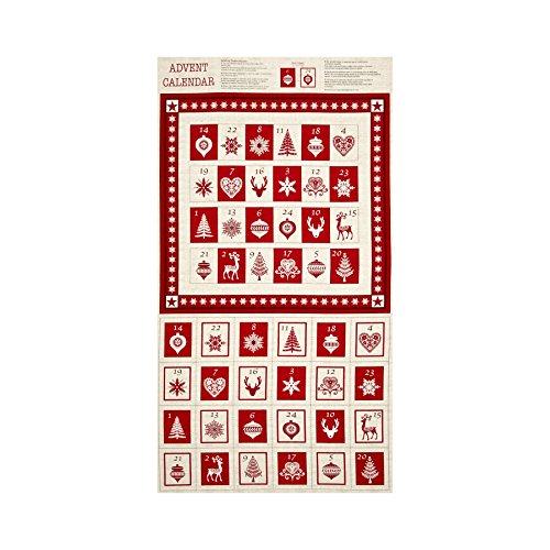 Scandi 3 Advent Calendar 24 In. Panel Linen/Red (Advent Calendar Panel)