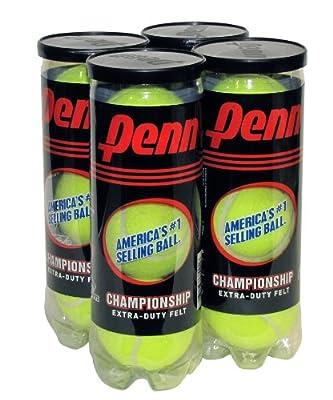 Penn Championship Extra Duty Tennis Balls (4-Cans, Shrinkwrapped)