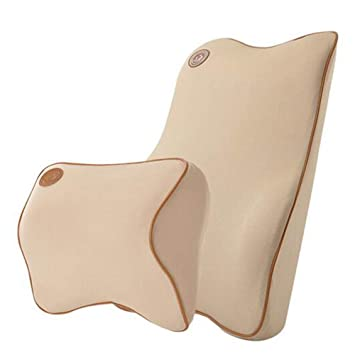 Ecloud Shop® Cojín de Soporte Lumbar para Coche y reposacabezas Kit de Almohada para Cuello - Diseño ergonómico Asiento de automóvil Principal de ...