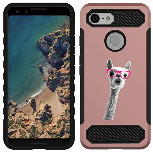 ([NickyPrints] Google Pixel 3 Hybrid Case - Alpaca Design Printed with Embossed Effect - Unique Dual Layer Full Protection Shockproof  Google Pixel 3 Rose Gold Case / Cover)