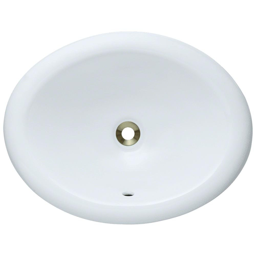 O1917-White Overmount Porcelain Bathroom Sink, Sink Only