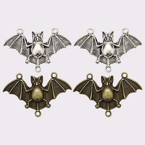 JETEHO 20pcs Vintage Alloy Bat Charms Pendant for DIY Necklace Bracelet Jewelry Making (Bat Charms Pendants)