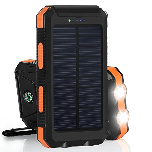 Winn-tech Solar Charger, Solar Phone Charger Power Bank 15000mAh Portable Charger with 2 Fast Charging USB Flashlight Compass Solar Battery Pack with Leather Case for Iphone & other Android Device by Winn-tech