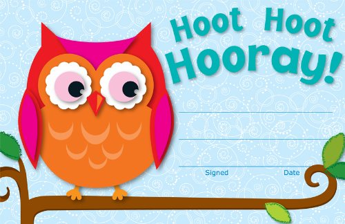 Owl Award - Carson Dellosa Hoot Hoot Hooray! Certificates (101072)
