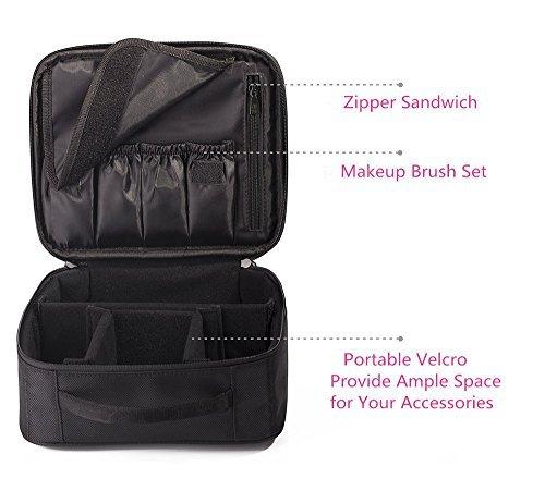 Makeup Train Case Travel Makeup Bag Portable Cosmetic Makeup Brush Organizer with Adjustable Dividers