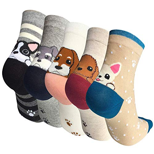 IMAXSELL 5 Pairs Womens Novelty Cute Pet Animal Print Pattern Design Cartoon Cotton Colorful Casual Comfortable Crew Socks, 5 Pairs-style 2, One ()