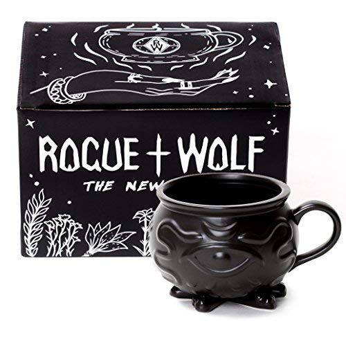 Rogue + Wolf Witch Cauldron Coffee Mug in Gift Box Porcelain 3D Novelty Mugs Gothic Tea Cup Witches Halloween Decor Witchcraft Wicca Supplies 14 oz -