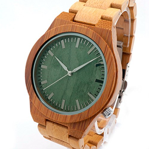 LinTimes Mens Green Wood Dial Full Bamboo Wooden - Wooden Watches Cheap