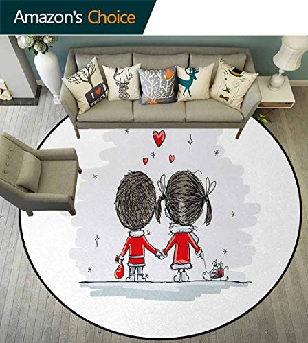 DESPKON-HOME Love Super Soft Circle Rugs for Girls,Couple Holding Hands Winter Season Stars and Hearts Christmas Themed Cartoon Baby Room Decor Round Carpets Diameter-55 Inch,Scarlet Cocoa Silver