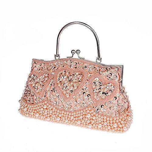 Clutch Bag 2 Pink Wedding Handbag Vintage MMYOMI Crossbody Beaded Ladies Party Bridal Prom Sequin Floral Evening Embroidery wzIfpfnqg4