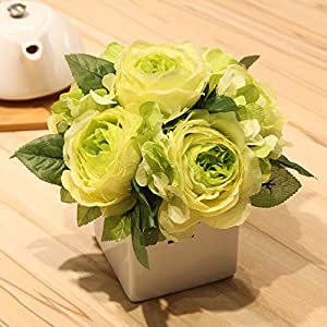 Emulation flower vases ceramic artificial flowers peony flowers Junzi Lan package floral furnishings with 20×20cm silk spinning 91