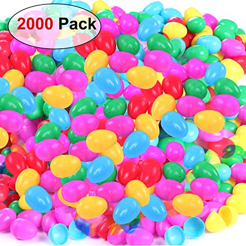 NEWBEA Plastic Jumbo Easter Eggs Assortment Unfilled for Kids (2000 Count)-Bright Colors, Easy Snap Shut, and Never Lose Pieces for Party Decoration Supplies ()