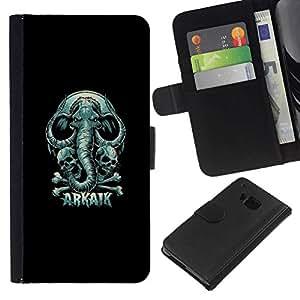 // PHONE CASE GIFT // Moda Estuche Funda de Cuero Billetera Tarjeta de crédito dinero bolsa Cubierta de proteccion Caso HTC One M9 / Arkaik - Skull & Elephant /