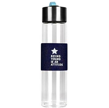 fablcrew Water botella en vidrio funda de piel 450 ml, azul: Amazon.es: Deportes y aire libre