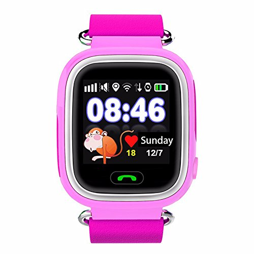 VIGICA Q90 Children Smartwatch Kid GPS Tracker Watch SOS Call Passometer Fitness Wifi Locus for Girls Parent Control By iPhone and Android Smartphones(Pink)