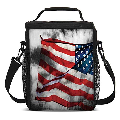 - American Flag Fashionable Lunch Bag,Banner in the Sky on Cloudy Mist Display National Symbol Proud of Heritage for Travel Picnic,One size