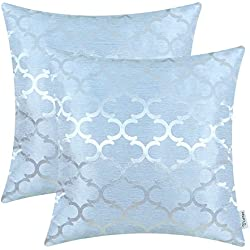 CaliTime Pack of 2 Cushion Covers Throw Pillow Cases Shells for Home Sofa Couch Modern Quatrefoil Accent Geometric 18 X 18 Inches Light Blue