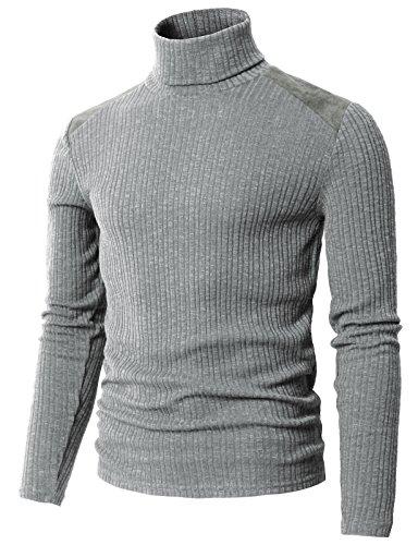 Cotton Interlock Turtleneck (H2H Men's 100% Cotton Interlock Mock Turtleneck Shirt Sweater Gray US XL/Asia 2XL (CMTTL099))