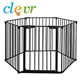New Clevr 3-in-1 Baby 6 Panel Playard Metal Gate Fence Playpen, Auto-Lock, Pet Playpen, Fireplace Fence Guard