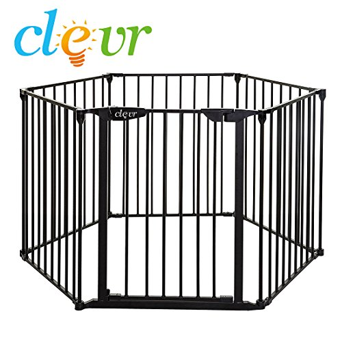 New Clevr 3-in-1 Baby 6 Panel Playard Metal Gate Fence Playpen, Auto-Lock, Pet Playpen, Fireplace Fence Guard by Clevr