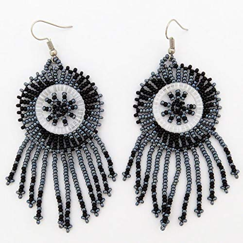 African Zulu beaded earrings - Dreamcatchers (small) - Night collection - Gift for - Collection Dreamcatcher