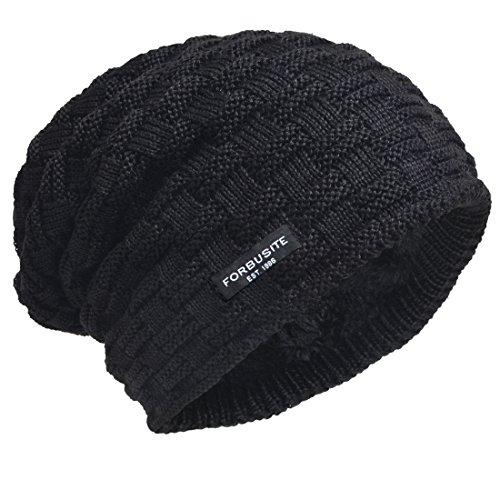 Check Fleece (VECRY Men Knit Beanie Hat Thick Fleece Lined Winter Skull Cap B5050 (Check-Black))