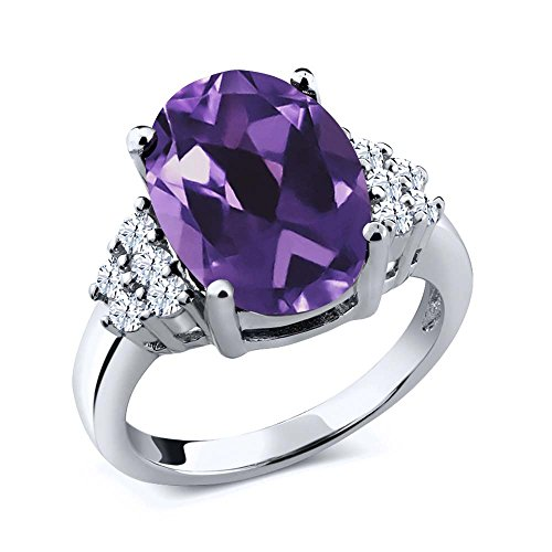 4.80 Ct Oval Purple Amethyst 925 Sterling Silver Ring by Gem Stone King