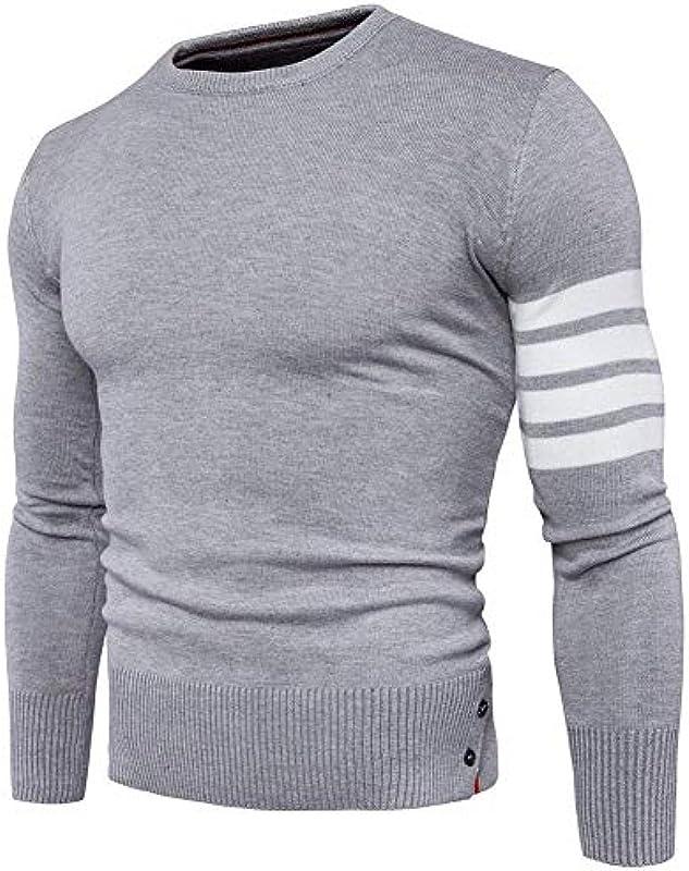 Sweter męski sweter z dzianiny retro bluzka z długim rękawem okrągły dekolt moda męska topy sweter wiosna jesienne splice paski sweter z dzianiny: Odzież