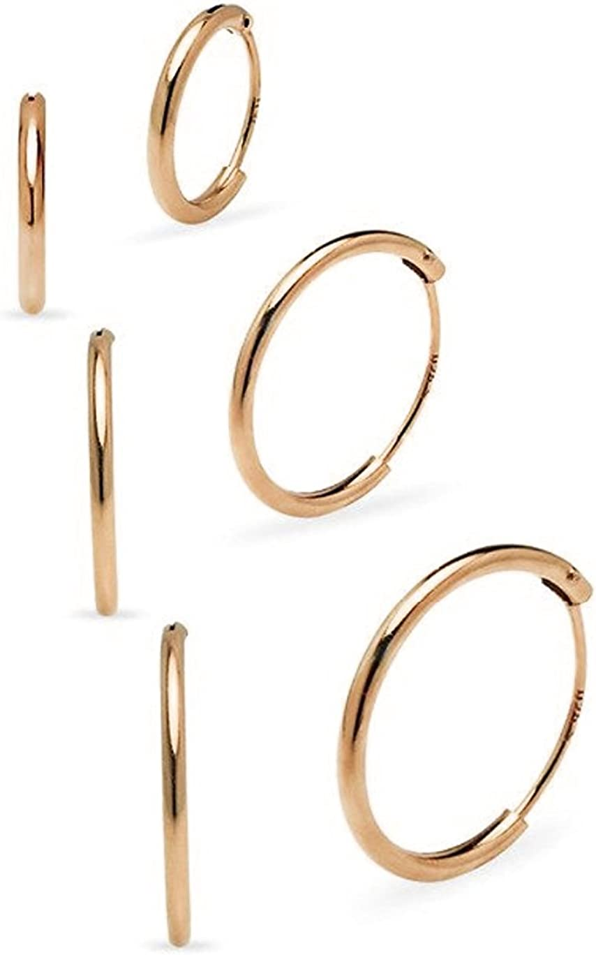 Set Paires 3 10 Boucles doreilles Femme Petit Cr/éoles en Argent Fin 925 Diam/ètre 8 12 mm /Épaisseur 1.2 mm