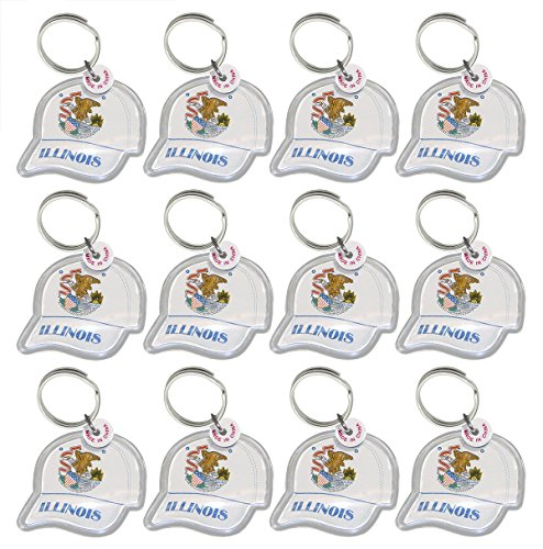 Lot of 12 - Key Ring with Acrylic Fob - Illinois State Seal On Ball Cap Keychain.