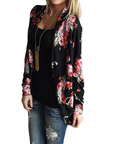 relipop womens floral long sleeve wrap kimono cardigans jacket coat small black apparel. Black Bedroom Furniture Sets. Home Design Ideas