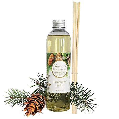 Victoria's Lavender Essential Oil Reed Diffuser Refill - Natural Organic Aromatherapy Oil for Reed Diffusers 8 oz -1 Year Supply- Reeds Included (Lavender & Fir)