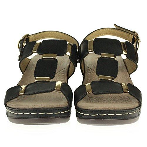 AARZ LONDON Frau Damen Offener Zeh Sommer Beiläufig Komfort Niedrige Keilabsatz Leicht Sandalen Schuhe Größe Schwarz