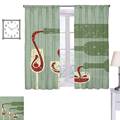 Terra Aged Wine - Superlucky Wine Thermal Insulating Blackout Curtain Grungy Aged Display with Wine Pouring into Glasses Stylized Retro 55