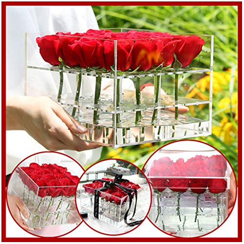FlurriesFresh-Keep Clear Rose Flower Box Pot - Transparent Acrylic Cube Vase with Cover Hole Compartment Square Makeup Storage Display Holder Organizer Case (M - 16 Flowers) from Flurries